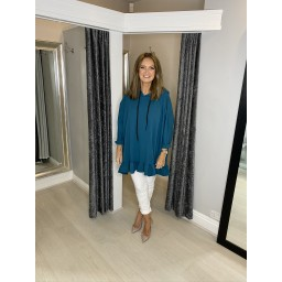 Lucy Cobb Curve Frill Hem Oversized Hoodie  - Teal