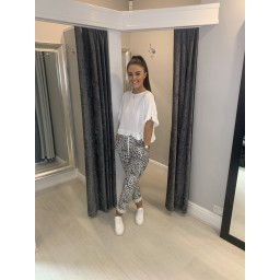 Lucy Cobb Leopard Magic Trousers in White Animal Print