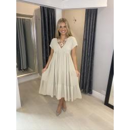 Lucy Cobb Sallie Midi Smock Dress in Stone