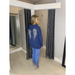 Lucy Cobb Sequin Angel Wing Hoodie - Denim
