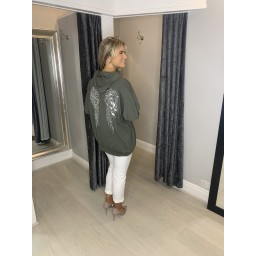 Lucy Cobb Sequin Angel Wing Hoodie - Khaki