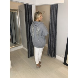 Lucy Cobb Sequin Angel Wing Hoodie - Marl Grey
