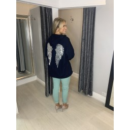 Lucy Cobb Sequin Angel Wing Hoodie - Navy