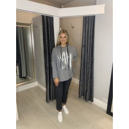 Lucy Cobb Paint Splash Oversized Hoodies - Marl Grey