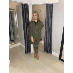 Lucy Cobb Frill Hem Oversized Hoodie  in Khaki