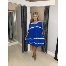 Lucy Cobb Tahiti Tie Dye Smock Dress in Royal