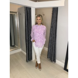 Lucy Cobb Safari Clemmie Print Top in Lilac