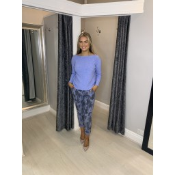 Lucy Cobb Large Camo Print Magic Trousers in Denim Blue