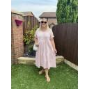 Sallie Sweatshirt Smock Dress - Baby Pink