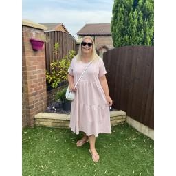 Lucy Cobb Curve Sallie Sweatshirt Smock Dress - Baby Pink