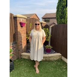 Lucy Cobb Curve Sallie Sweatshirt Smock Dress - Stone