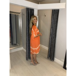 Lucy Cobb Tahiti Tie Dye Smock Dress in Orange
