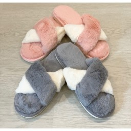 Lucy Cobb Crossover Slippers - Baby Pink