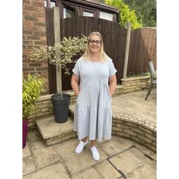 Lucy Cobb Curve Sallie Sweatshirt Smock Dress - Silver Grey