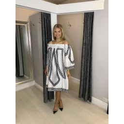 Lucy Cobb Skiathos Bardot Printed Dress  in White