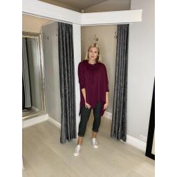Lucy Cobb Cowl Neck Sweatshirt in Burgundy