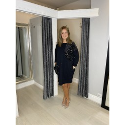 Lucy Cobb Curve Sara Sequin Sweatshirt Tunic - Black