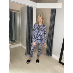Lucy Cobb Leopard Loungewear Set in Denim Blue