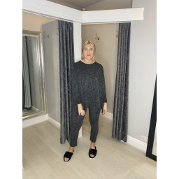 Lucy Cobb Leopard Loungewear Set in Charcoal