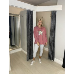 Lucy Cobb Silver Star Oversized  Hoodie in Rose