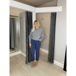 Lucy Cobb Ribbed Batwing Jumper  in Mid Grey