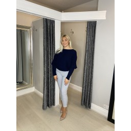 Lucy Cobb Ribbed Batwing Jumper  in Navy