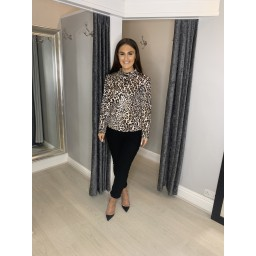 Lucy Cobb Alia Animal Print High Neck Top in Leopard Print