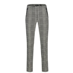 Robell Trousers Holly Modern Glen Check Trousers - Black & White