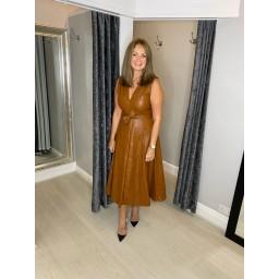 Lucy Cobb Perla Pleather Maxi Dress - Tan