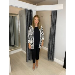 Lucy Cobb Rai Animal Print Hodded Jacket in White