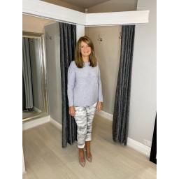 Lucy Cobb Super Soft Luxury Star Jumper in Silver