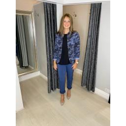 Lucy Cobb Camo Military Jacket - Denim Blue