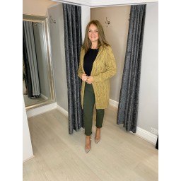 Lucy Cobb Carla Cable Knit Cardigan in Camel
