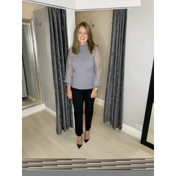 Lucy Cobb Pasa Puff Sleeve Jumper  in Grey