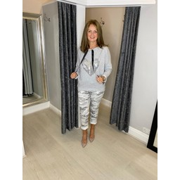 Lucy Cobb Sindi Sequin Heart Top - Marl Grey
