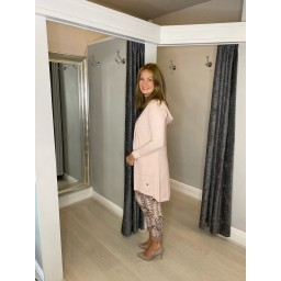 Lucy Cobb Hattie Hooded Cardigan in Baby Pink