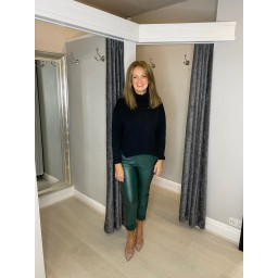 Lucy Cobb Pacha Pleather Crinkle Joggers in Green