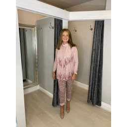 Lucy Cobb Sena Sequin Scarf Jumper  in Baby Pink