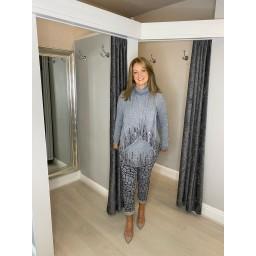 Lucy Cobb Sena Sequin Scarf Jumper  in Grey