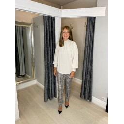 Oui Blouse With Standup Collar - Cream