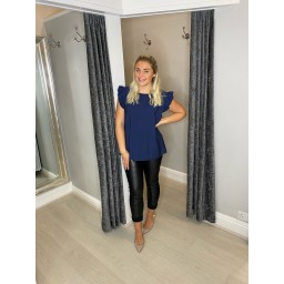 Lucy Cobb Frida Frill Sleeve Top in Navy
