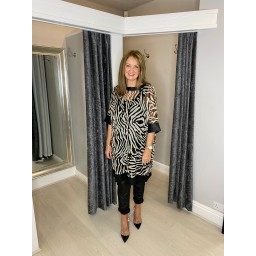 Lucy Cobb Pixie Printed Pleather Edged Tunic in Zebra Print