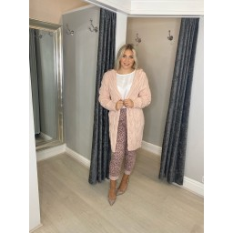 Lucy Cobb Carla Cable Knit Cardigan in Baby Pink