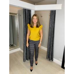 Robell Trousers Bella Geometric Jacquard Trousers - Black & White