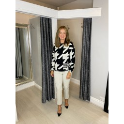 Oui Abstract Jumper with Pocket - Black & White