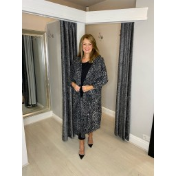 Lucy Cobb Jasmine Leopard Print Coat - Charcoal