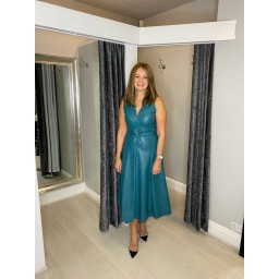 Lucy Cobb Perla Pleather Maxi Dress in Teal