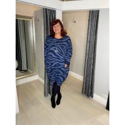 Lucy Cobb Eleni Zebra Dress - Navy