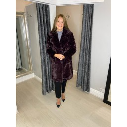 French Connection Banna Long Faux Fur Coat - Plum