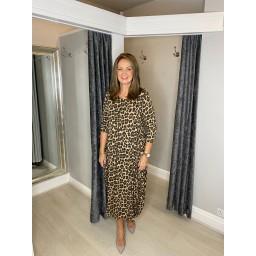 Lucy Cobb Tara Long Sleeve Leopard Dress in Stone